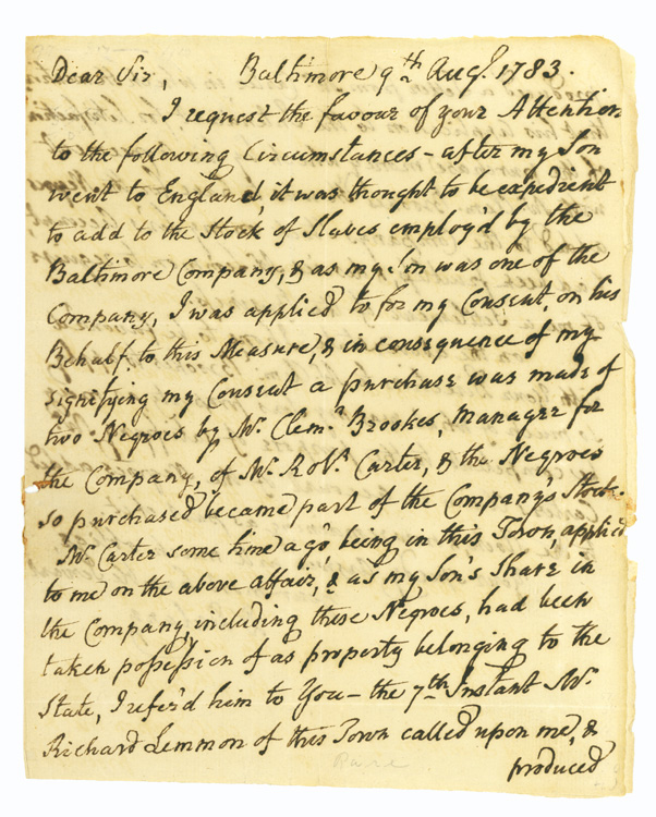 """Autograph Letter, signed (""""D Dulany""""), to Daniel of St. Thomas Jenifer, concerning remuneration for confiscated shares of slaves owned by the Baltimore Company. Daniel Dulany, the Younger."""