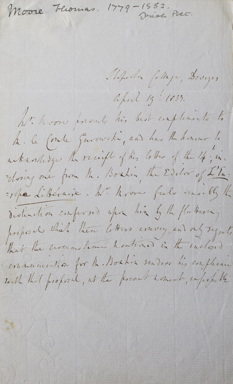 """Autograph Letter, signed in text, in third person (""""Mr.Moore"""") to """"M. le Comte Gurowski"""", declining a proposal from the literary review L'Europe Littéraire. Thomas Moore."""