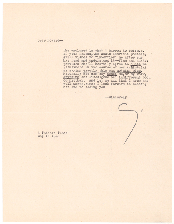 "Typed Letter, signed (""Cummings""), to Howard Rothschild. E. E. Cummings."
