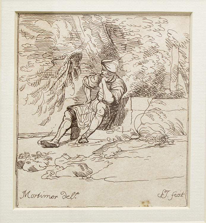 Reposo: a bearded man in a turban sitting back in thought on a step beneath a tree, his head resting on his hand, looking to left. John Hamilton Mortimer.