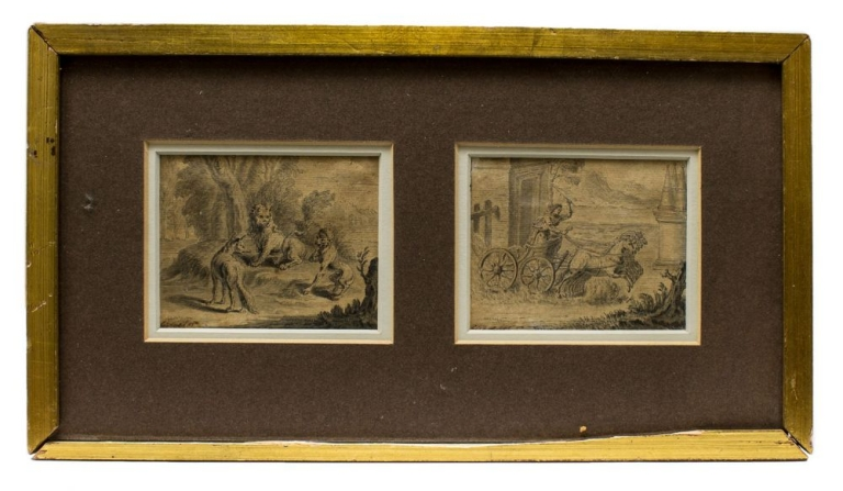 Two unidentified small wash drawings. Hubert François? Gravelot.
