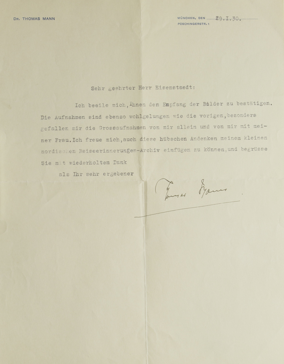 Typed Letter, Signed, to Alfred Eisenstaedt, on Munich letterhead, thanking him for portrait photographs. Thomas Mann.