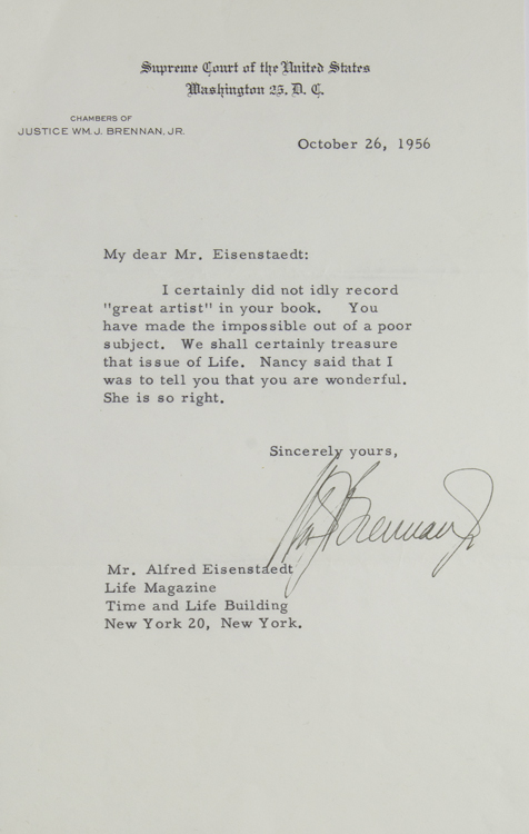 Typed Letter, Signed, to LIFE photographer ALFRED EISENSTAEDT. William Joseph Brennan, Jr.