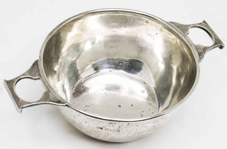 "Small Hallmarked sterling silver Quaich. Inscribed on the side ""Charles Hodges the Second/ From/ Harry Crosby."" Harry Crosby."