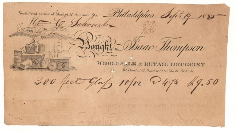 """Billhead of Isaac Thompson Wholesale & Retail Druggist. Accomplished for """"200 Feet Glass 10/12 @ 4.75 $9.50."""""""