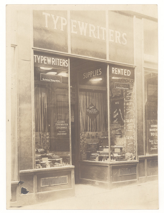 Collection of typewriter ephemera, including The Constitution and By-Laws of the New York Typewriter Dealers Association. Globe Typewriter Exchange, Jessie Taylor.