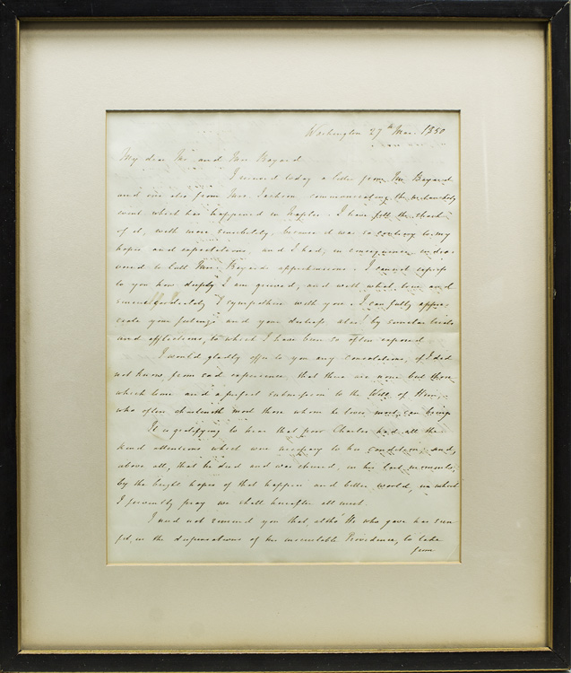 """Autograph Letter, signed (""""H. Clay""""), to Mr. and Mrs. [Richard] Bayard on the death of their son Charles. Henry Clay."""