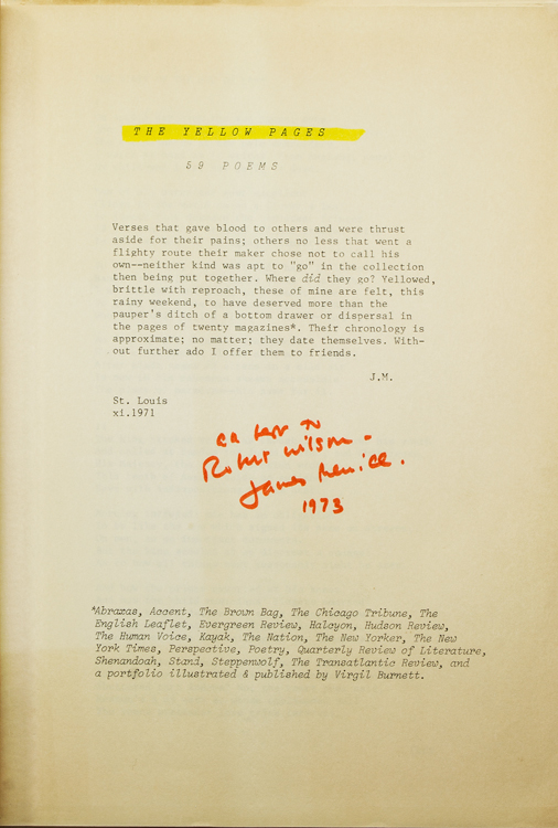 The Yellow Pages. 59 Poems. James Merrill.