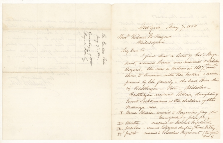 Autograph Letter, Signed. To Honble. Richard H. Bayard. Hamilton Fish.