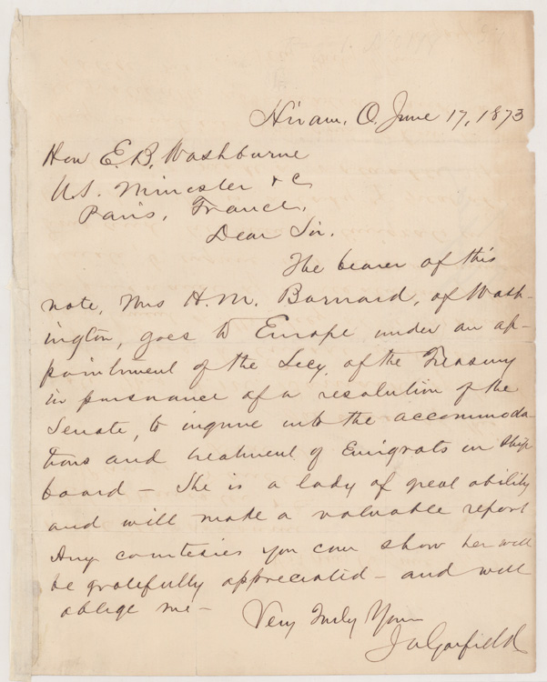Autograph Letter, signed, to Hon. E.[lihu] B.[enjamin] Washburne, U.S. Minister at Paris, France. James Garfield.