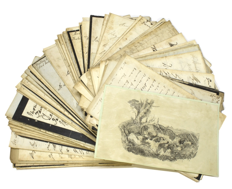 Collection of 136 autograph letters to Tom Smith, from British nobility, politicians, and sportsmen, 1830 – 1867. Tom Smith.