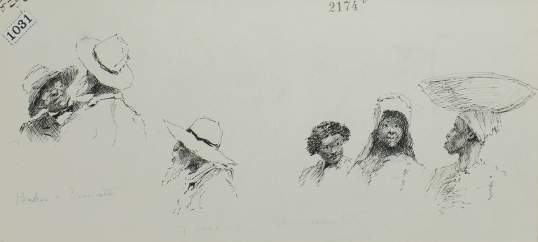 """Pen and Ink Drawing: 2 vignette scenes of black men and women for """"Mrs. Stowe's Uncle Tom at home in Kentucky"""" by James Lane Allen as it appeared in The Century Oct. 1887. E. W. Kemble."""