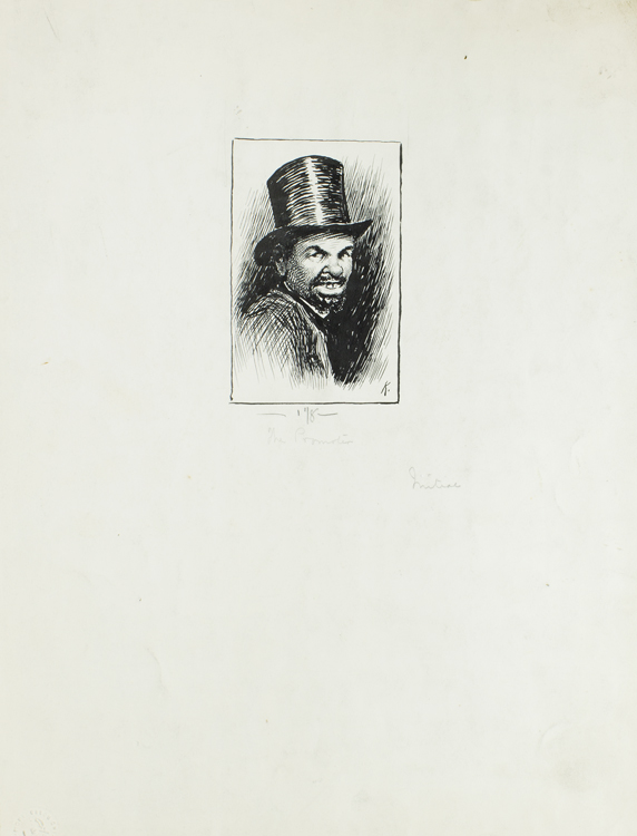 """Pen and Ink Drawing: """"The Promoter."""" Illustration for The Century Magazine of a gap toothed blackman in top hat . Signed """"K"""" in ink; title in pencil below the drawing. Matted. It is indicated in pencil that this drawing of an African-American was to be used as an initial. E. W. Kemble."""