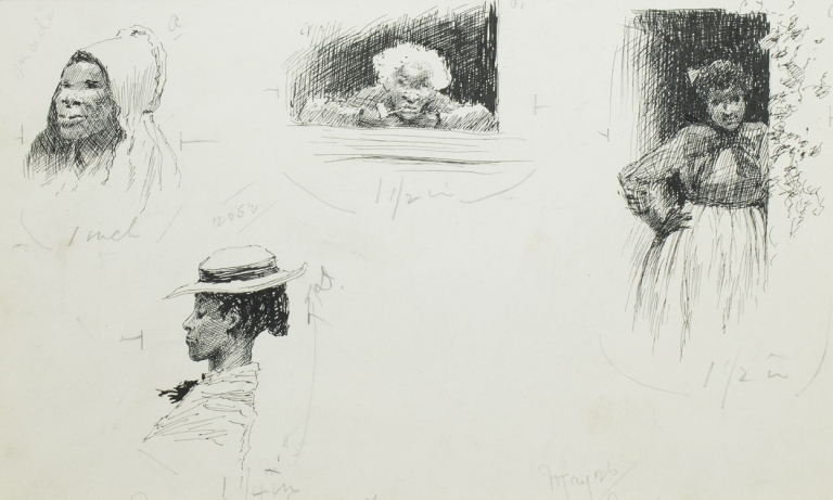"""Pen and Ink Drawing: 4 vignette scenes of black women for """"Mrs. Stowe's Uncle Tom at home in Kentucky"""" by James Lane Allen as it appeared in The Century Oct. 1887. E. W. Kemble."""
