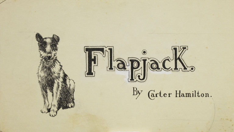 """Pen and Ink of Dog """"Flapjack"""" by Carter Hamilton in St. Nicholas Magazine. William Taber."""