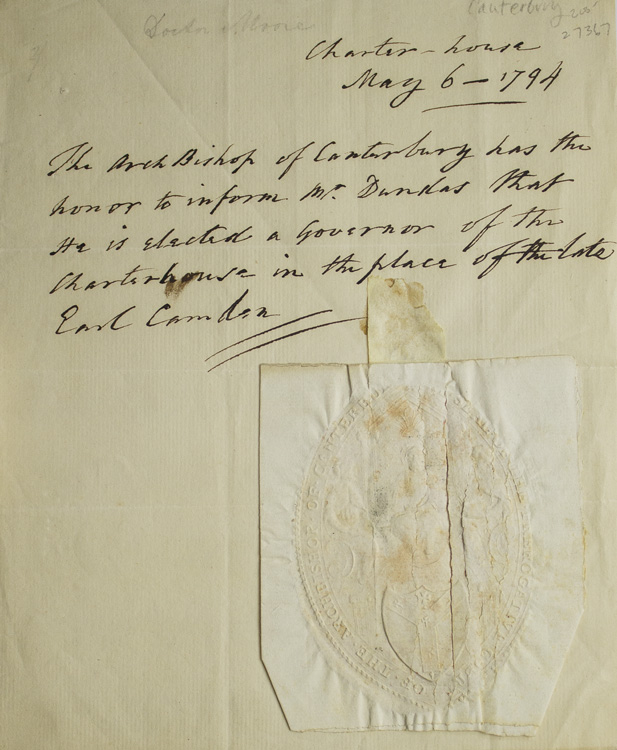 Manuscript letter written in the third person to Mr. Dundas, with Archbishop's seal affixed. John Moore Canterbury, Archbishop of.