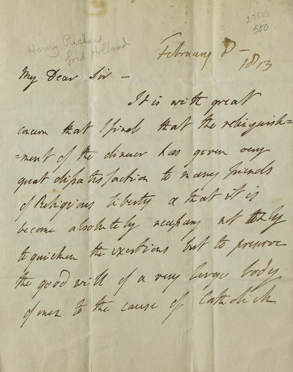 """A group of three autograph letters signed the first by Henry Richard Vassall Fox, Baron Holland """"Vassall Holland,"""" the second by Alexander Hamilton Douglas, Duke of Hamilton """"""""Douglas and Clydesdale"""" and the last in the third person the Augustus Frederick Fitzgerald, Duke of Leinster. Catholic Emancipation."""
