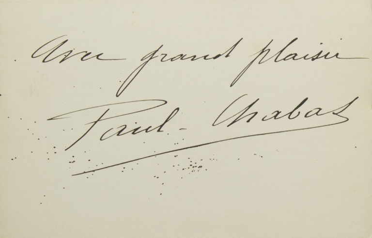 """Card signed in ink: """"Avec grand plaisir / Paul-Chabas"""". Paul Chabas."""