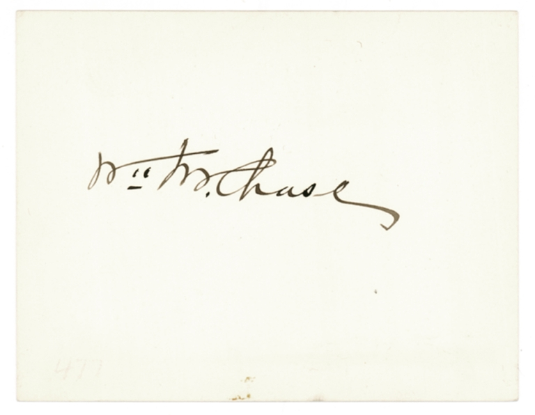 """Card signed in ink: """"Wm M. Chase"""". William Merritt Chase."""
