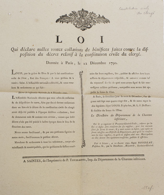 Loi qui declare nulles toutes collations de bénéfices faites contre la dispostion du décret relatif à la constitution civile du clergé. Donnée à Paris le 12 Decembre 1790. French Revolutionary Broadside, Louis XVI.
