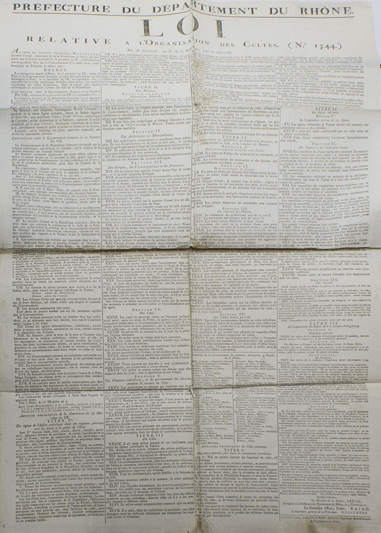 Prefecture du Département du Rhône. Loi Relative a l'Organisation des Cultes. (no. 1344) du 18 Germinal, an X. French Revolutionary Broadside, as Premier Consul Napoleon.