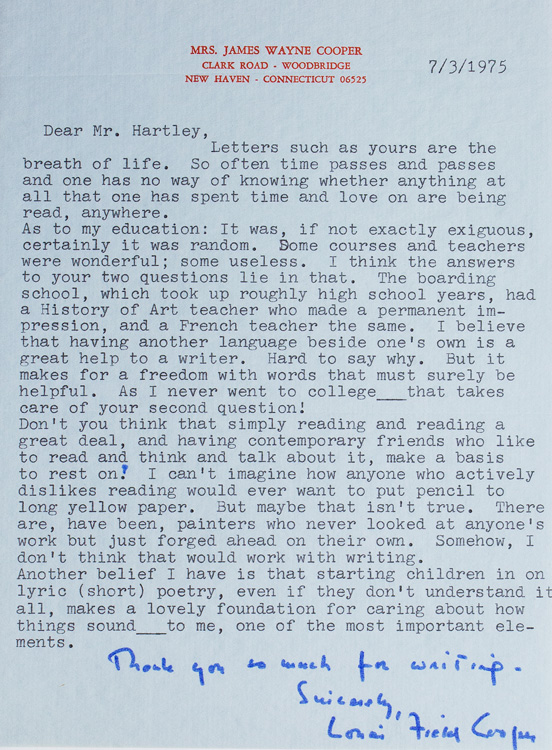 """Typed letter signed """"Louise Field Cooper"""". Louise Field Cooper, American novelist."""