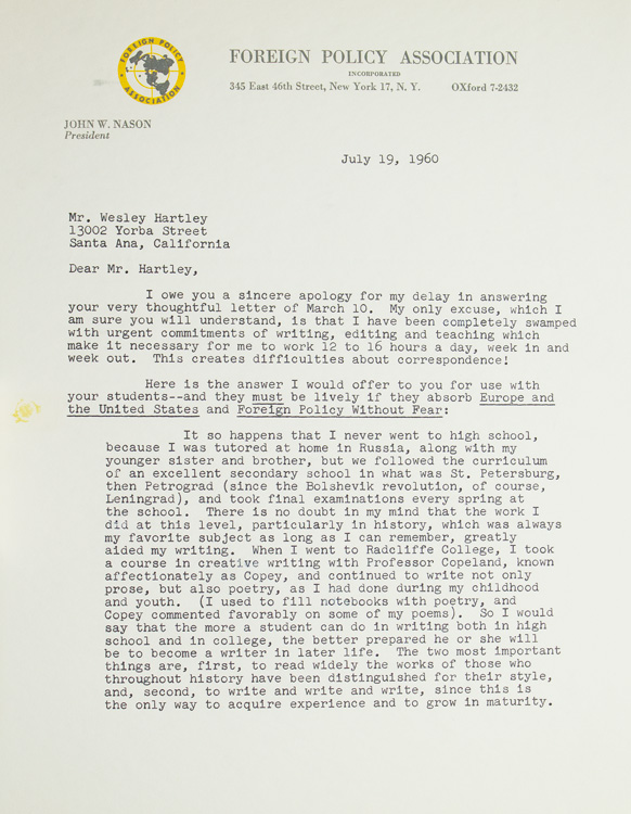 "Typed letter signed ""Vera Micheles Dean"". Vera Micheles Dean, American, writer on international affairs."