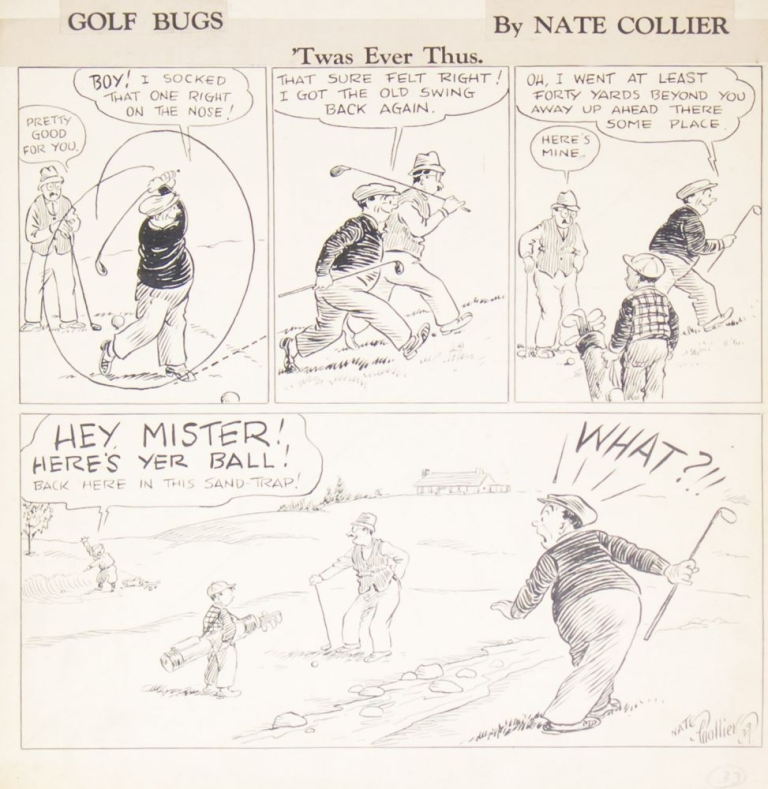 """Golf Bugs: 'Twas Ever Thus"" Original of a four-panel cartoon, india ink on light card, signed and dated ""Nate Collier 39"". Golf, Nate Collier."