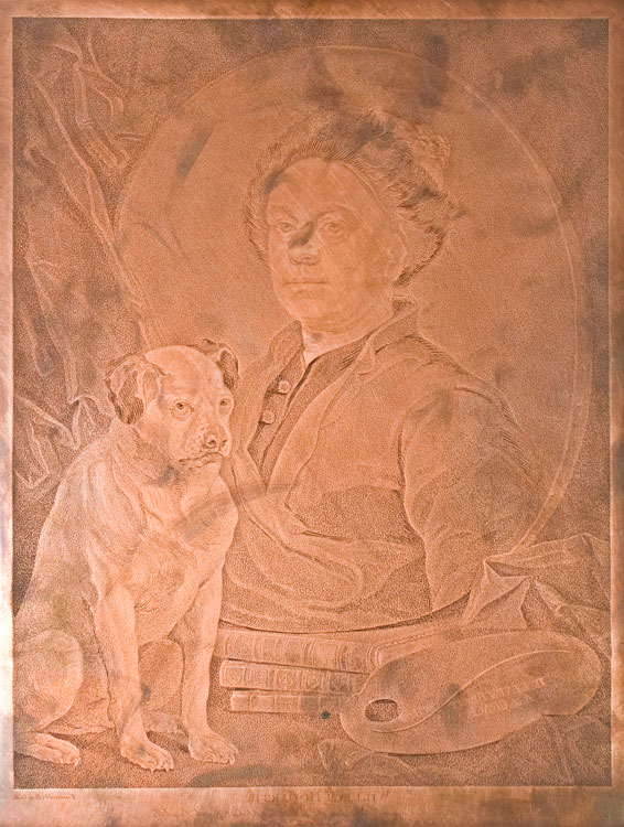 Copper plate: Portrait with allegorical attributes. William Hogarth.