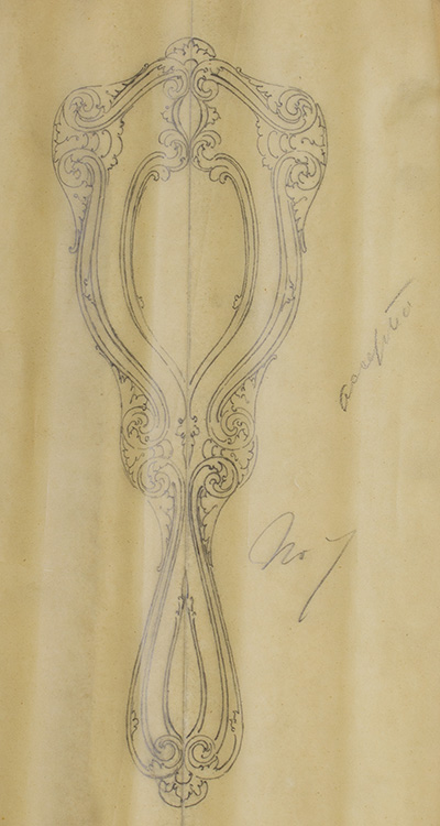 Original pencil design for ladies' hand mirror. George R. Benda.
