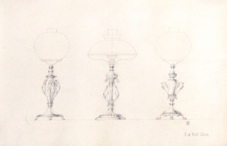 """Original pencil design for three gas-lamp bases; signed with monogram """"GB"""" and inscribed """"1/3 of Full Size"""". George R. Benda."""