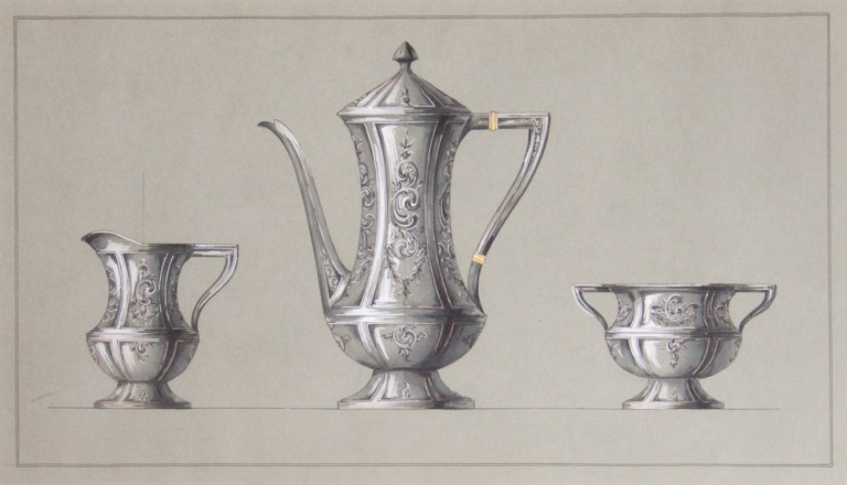 Original ink and colored wash design for three-piece silver tea service. George R. Benda.