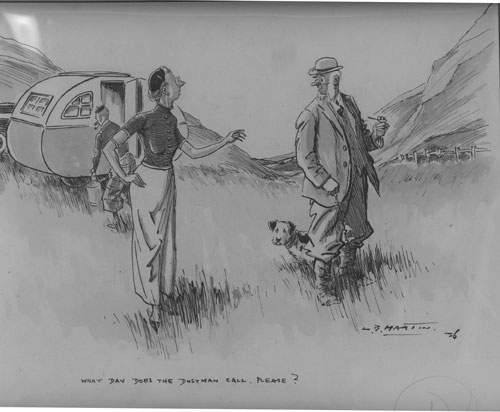 """""""What day does the dustman call, please?"""": Original cartoon drawing, pen and wash on board, signed and dated lower right with caption in lower margin. Cartoon art, L. B. Martin."""