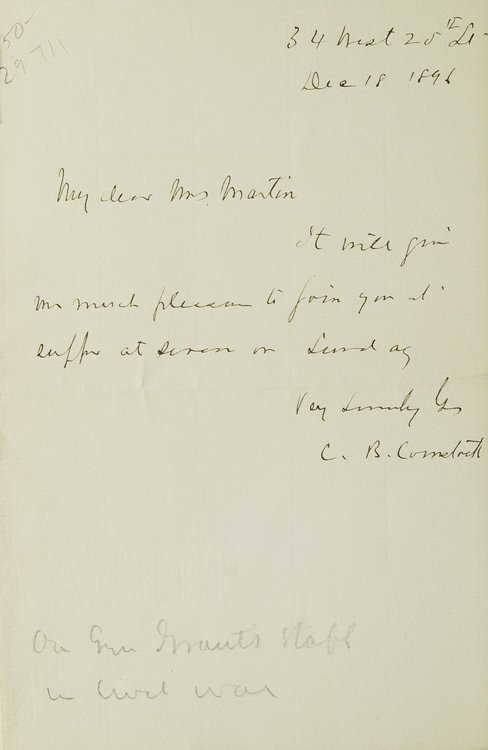 "Autograph note signed ""C. B. Comstock"". C. B. Comstock."