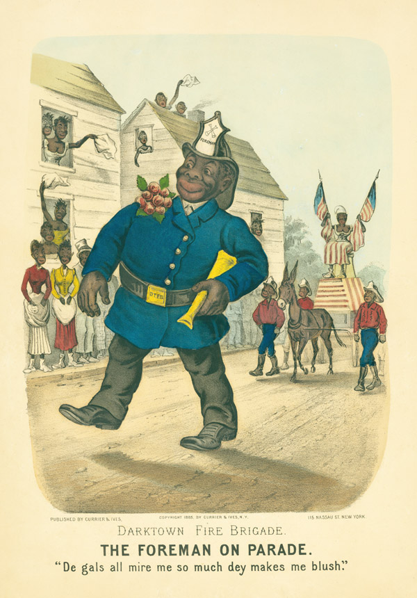 """Darktown Fire Brigade. The Foreman on Parade"". Currier, Ives."