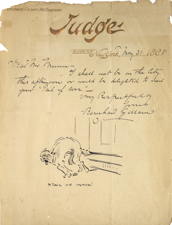 """Pen and ink drawing captioned """"A Tail of Whoa!"""" included in an Autograph Letter, signed, to Mr. Munn. Bernhard Gilliam."""