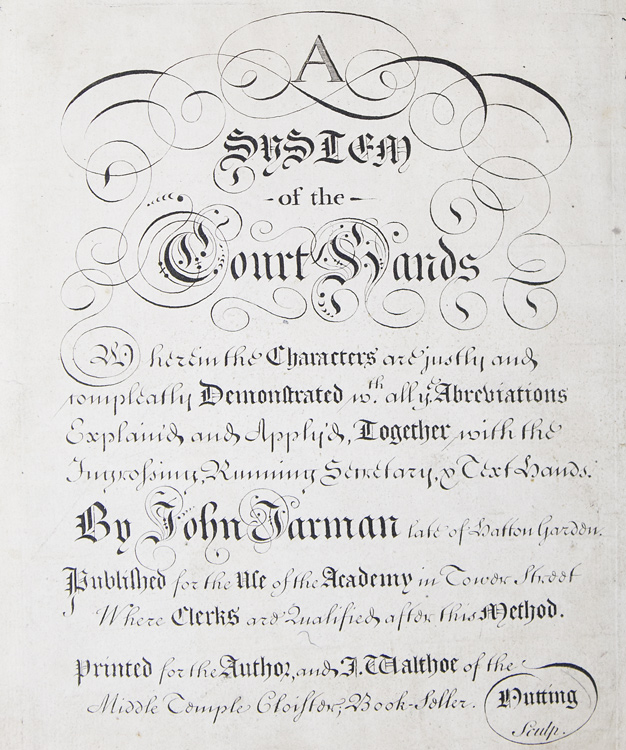 Engraved title-page for: A System of the Court Hands