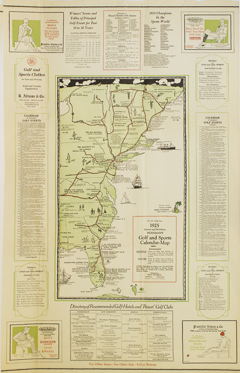 Hodgnman's Golf and Sports Calendar Map. 1924-1925 Winter and Spring Edition. No. 15-11th Year. Golf.