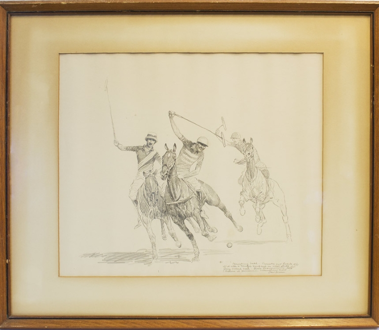 "Original pencil drawing of two polo players in full contest, captioned in pencil and signed by the artist: ""Bounding ball. Boeseke put Roark off of it with a terrific bump and in next stride of pony backed ball. Open championship 1933. Aurora vs. Hurricanes - International Field. Paul Brown"". Polo, Paul Brown."