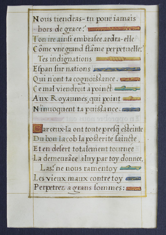 Illuminated Leaf of Clement Marot's Psalm 79, from mid- 16th century French  Psalter on James Cummins Bookseller