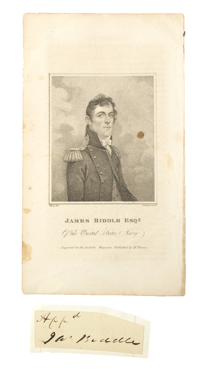 Signature clipped from a document [with] an engraving of Biddle. James Biddle.