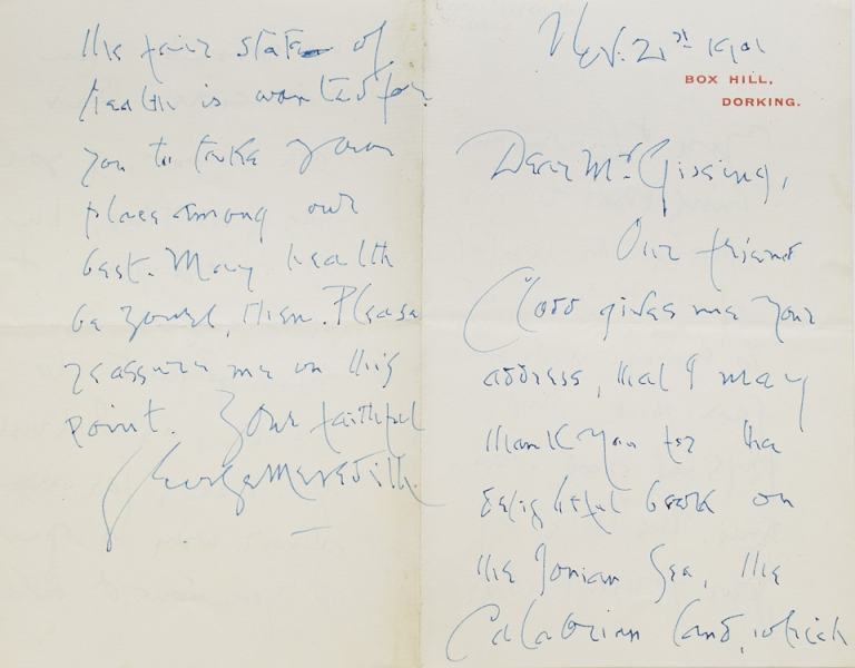 """Autograph Letter Signed (""""George Meredith""""), to George Gissing, thanking him for """"the delightful book on The Ionian Sea"""" George Meredith."""