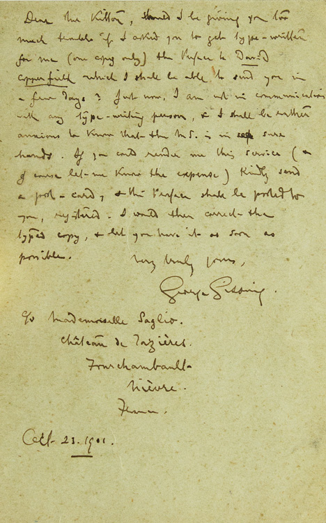 autograph letter signed george gissing to f g kitton should