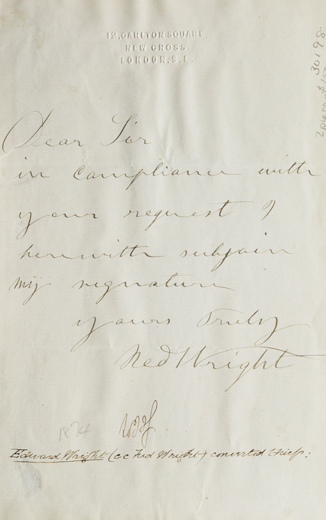 """Autograph letter signed """"Ned Wright"""". Crime, Edward """"Ned"""" Wright, Thief."""