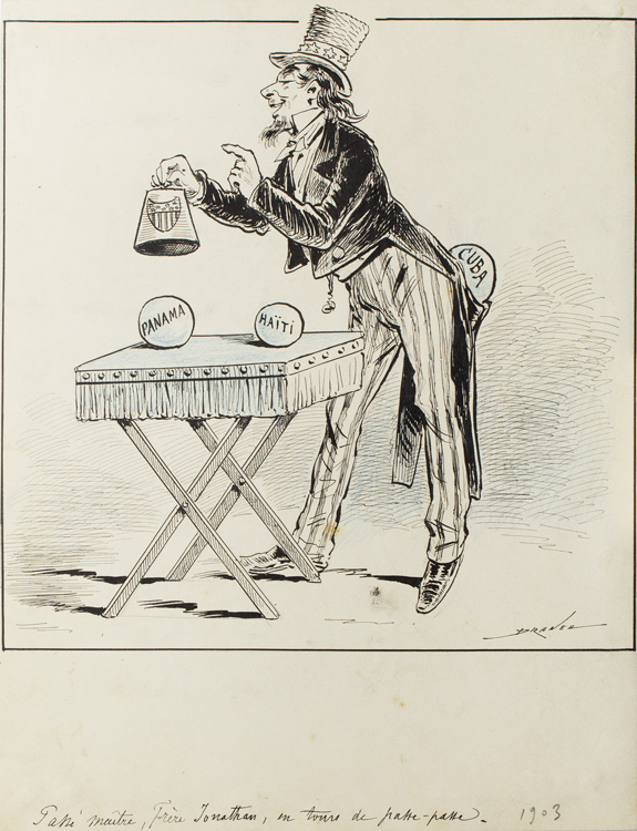 Cartoon of Uncle Sam or Brother Jonathan performing a trick with balls of Panama, Haiti and Cuba. Draner, Jules Jean Georges Renard.