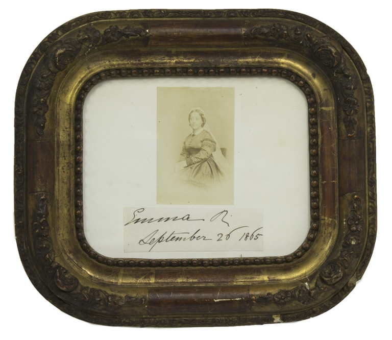 [Emma, Queen of Hawaii.] With a clipped signature and date 1865 in her hand. Andreas Avelino Montano.