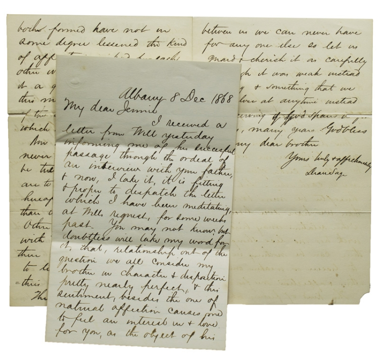 "Two Autograph Letters, signed (""Dean Sage""), to his prospective sister-in-law, ""My dear Jennie,"" 8 December 1868, and to his brother Will, 4 March 1869. Dean Sage."