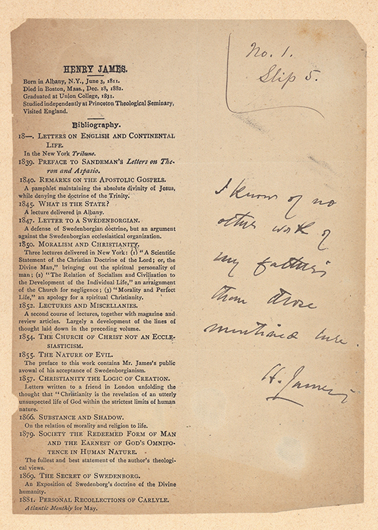 Henry James … Bibliography [Proof sheet of checklist of the works of Henry James, Sr]. Henry James.