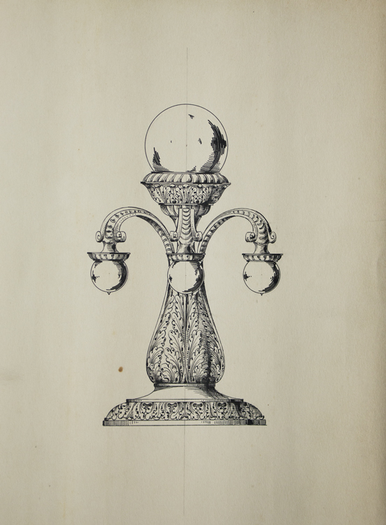 Original ink drawing in pen and ink of a electrical lighting fixture. George R. Benda.