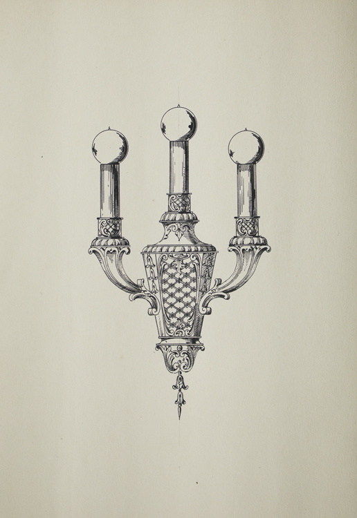 Original ink drawing in pen and ink of wall elctric light fixture witgh 3 bulbs. George R. Benda.